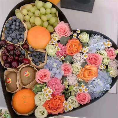 fruits & flowers in box